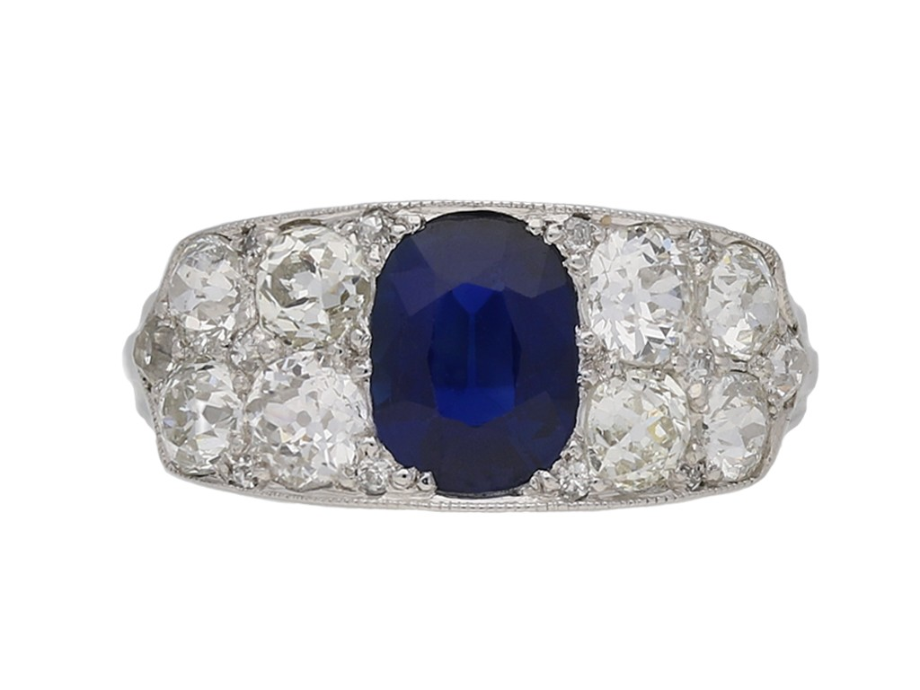 Sapphire and diamond ring, circa 1920 berganza hatton garden