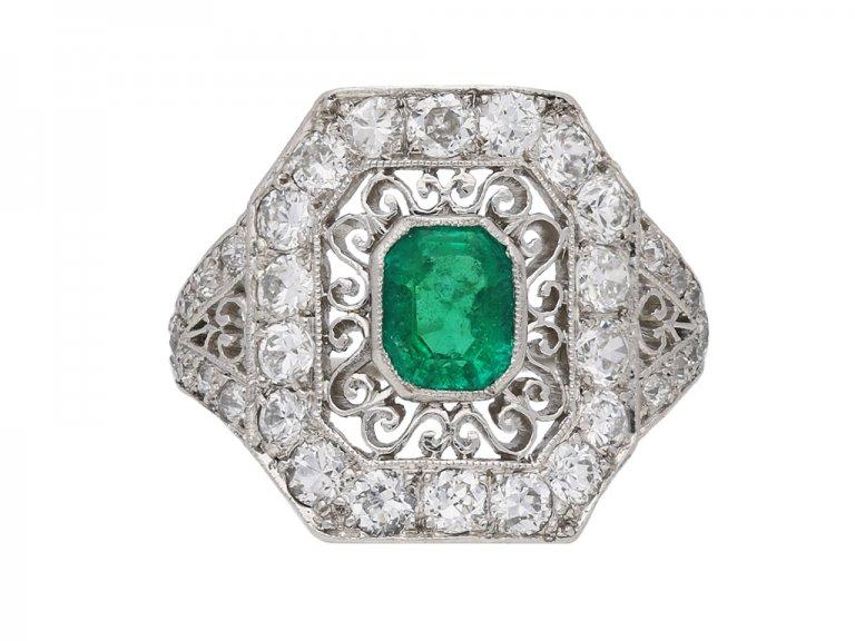 Ornate emeralddiamond cluster ring berganza hatton garden