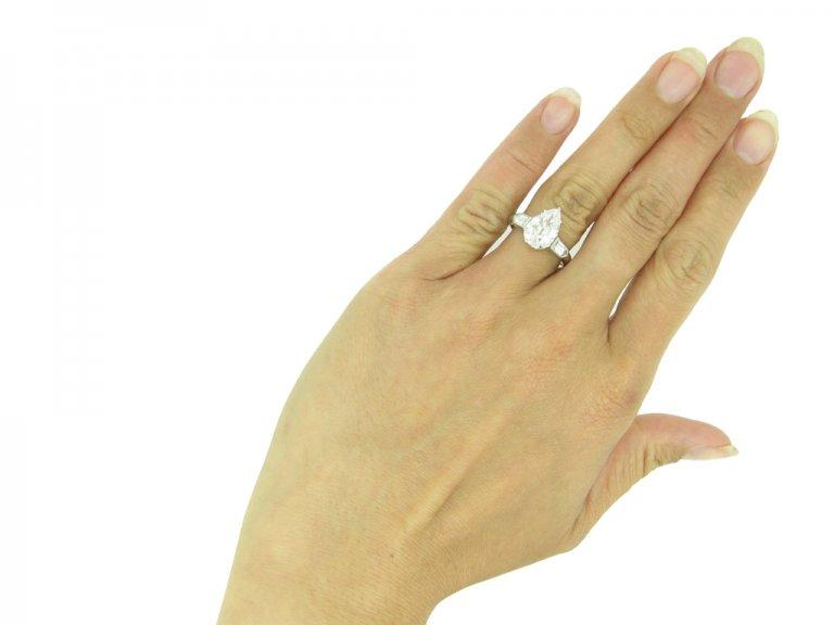 Drop shape old mine diamond ring berganza hatton garden