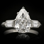 Drop shape old mine diamond ring, circa 1935.