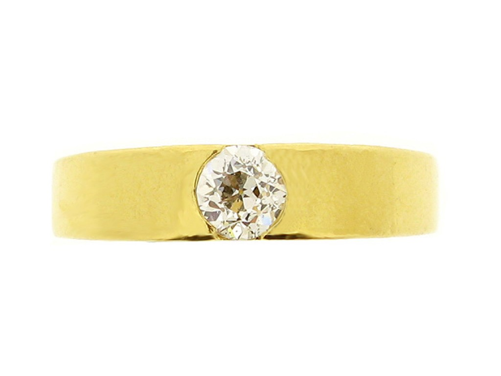 front view Solitaire old cut diamond ring, French, circa 1950.