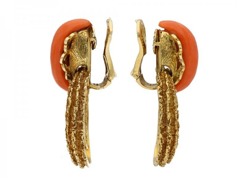 David Morris coral  diamond earrings berganza hatton garden