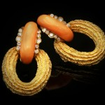 David Morris coral and diamond earrings, circa 1972.