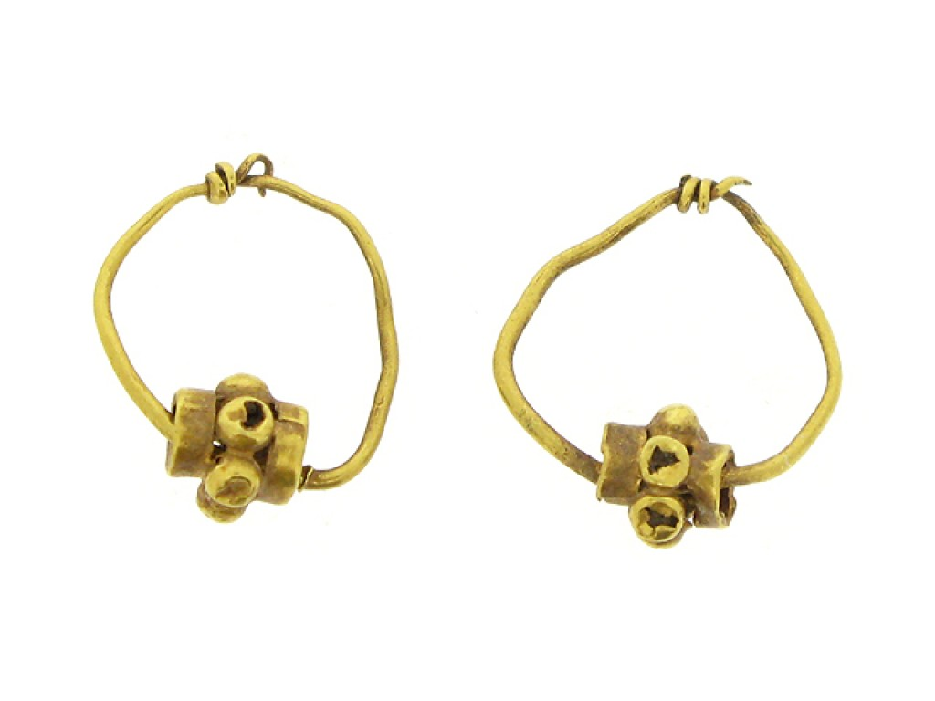 Ancient Roman gold earrings, circa 2nd to 3rd century AD.