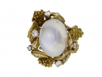 Eugene Meister moonstone and diamond ring berganza hatton garden