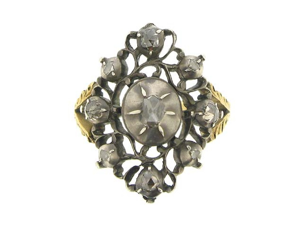 front view Antique rose cut diamond ring, Dutch, circa 1800.