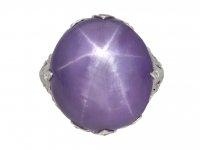 Mauve star sapphire diamond cluster ringberganza hatton garden