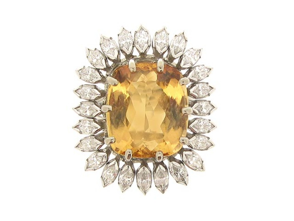 front view Vintage topaz and marquise diamond cluster ring, circa 1980.