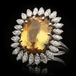 Vintage topaz and marquise diamond cluster ring, circa 1980.