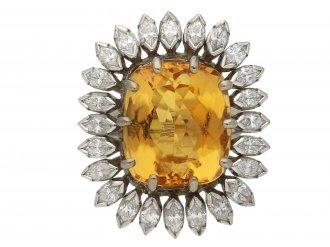 Vintage topaz marquise diamond cluster ring berganza hatton garden