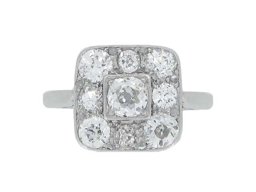 front view Art Deco diamond coronet cluster ring, circa 1925.