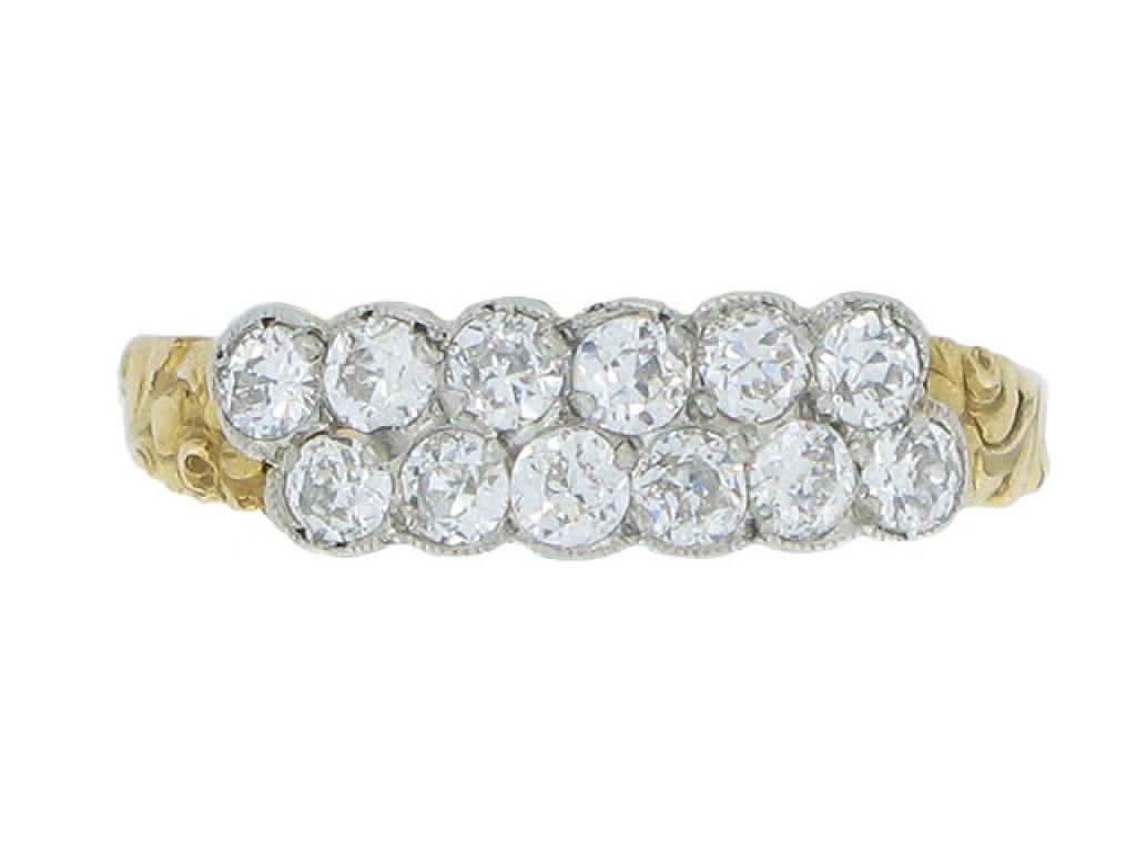 front view Antique two row diamond ring, circa 1905.