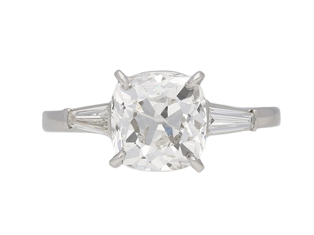 Cartier cushion shape old mine diamond ring berganza hatton garden