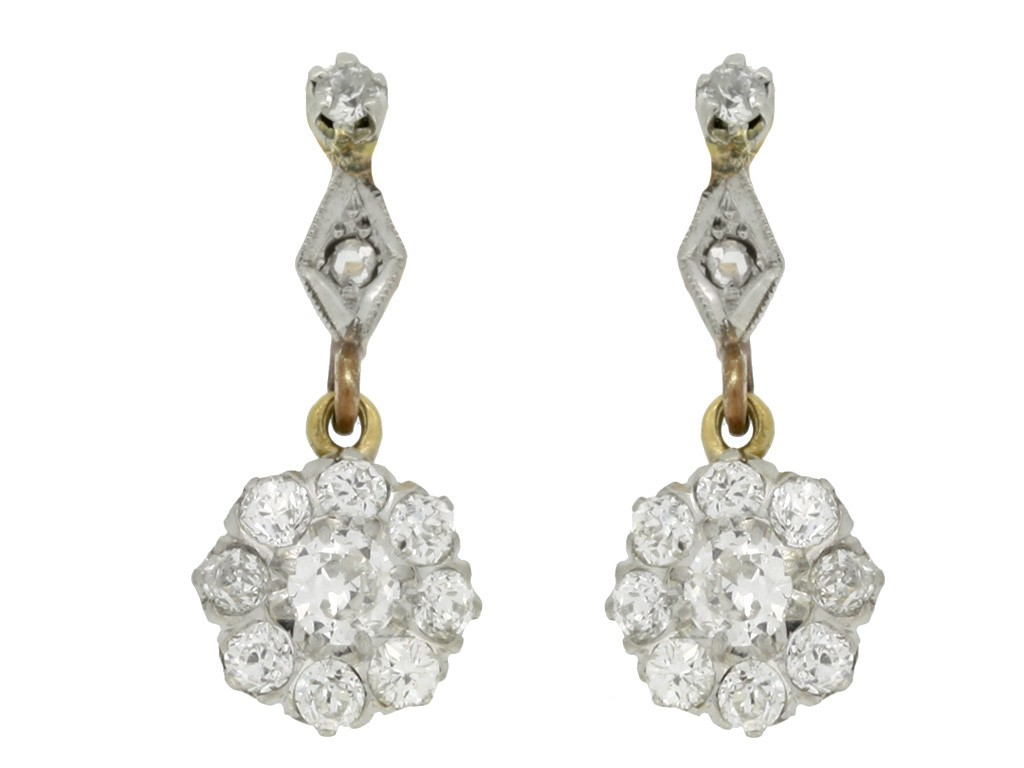 Antique diamond drop earrings, circa 1920.