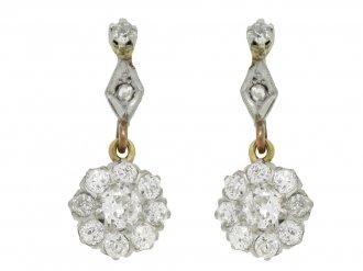 Diamond cluster drop earrings, circa 1920.