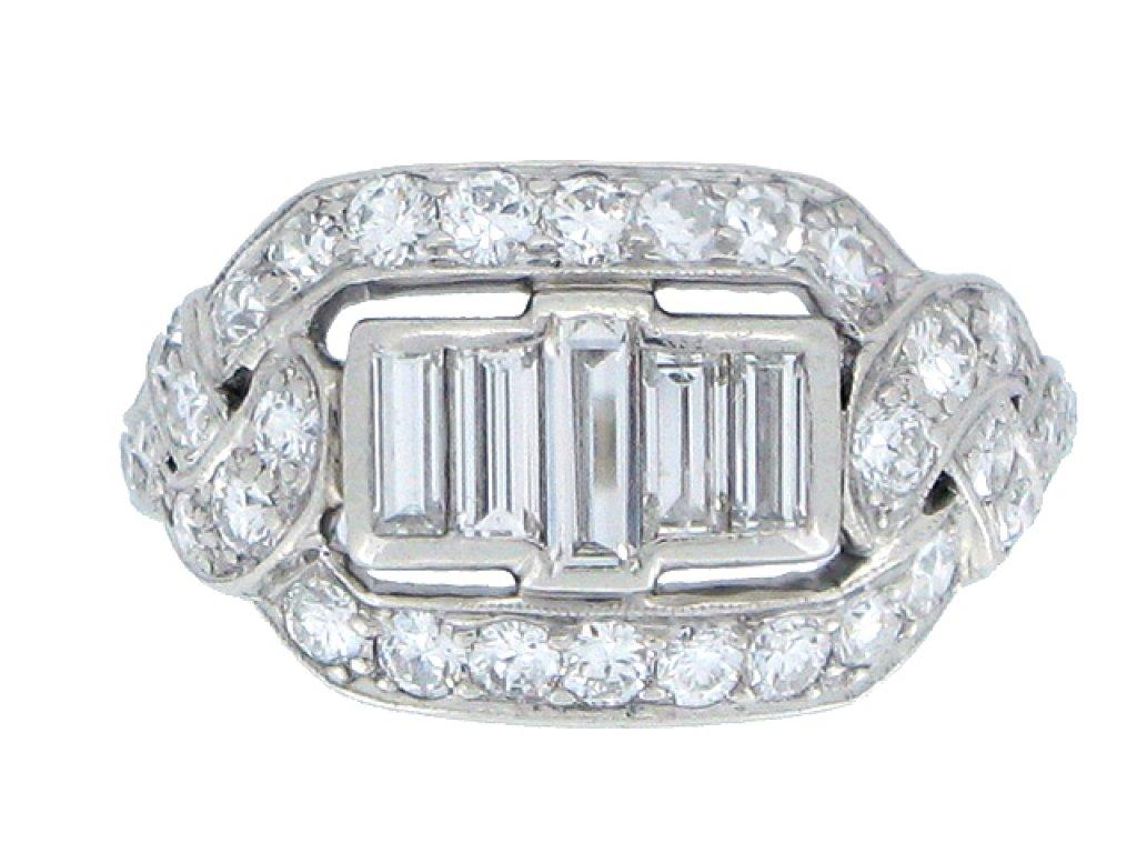 FRONT VEIW Baguette diamond cluster ring, American circa 1920.