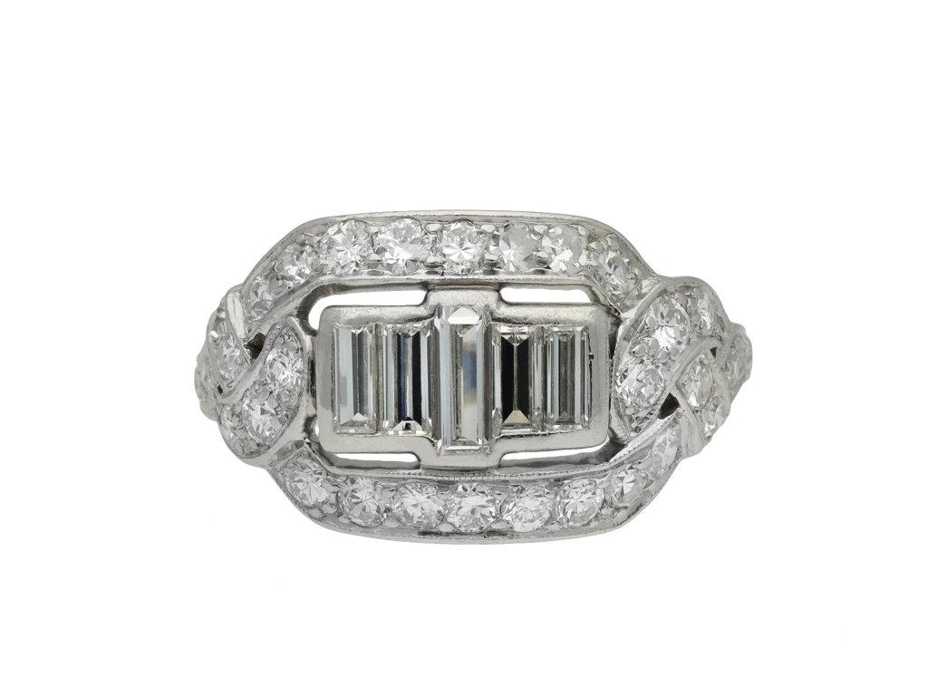 Baguette diamond cluster ring hatton garden