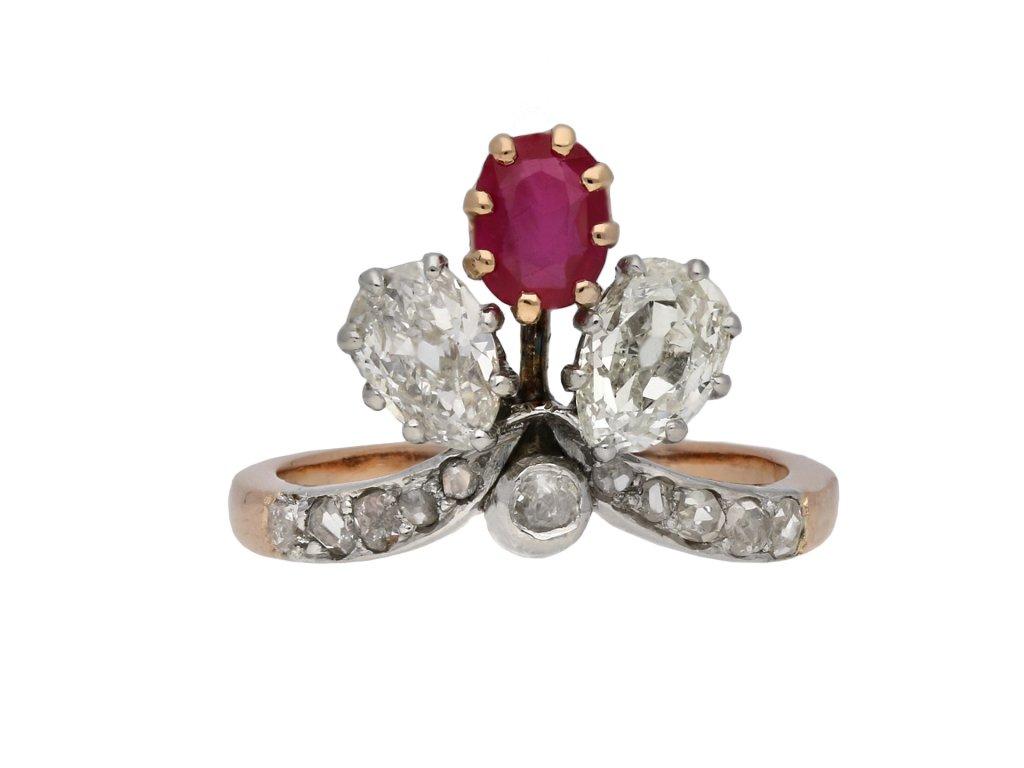 Art Nouveau ruby and diamond trefoil ring hatton garden berganza
