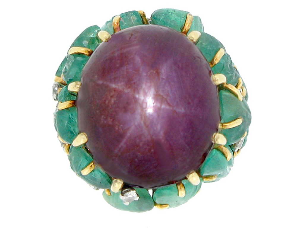 Marchak star ruby, carved emerald