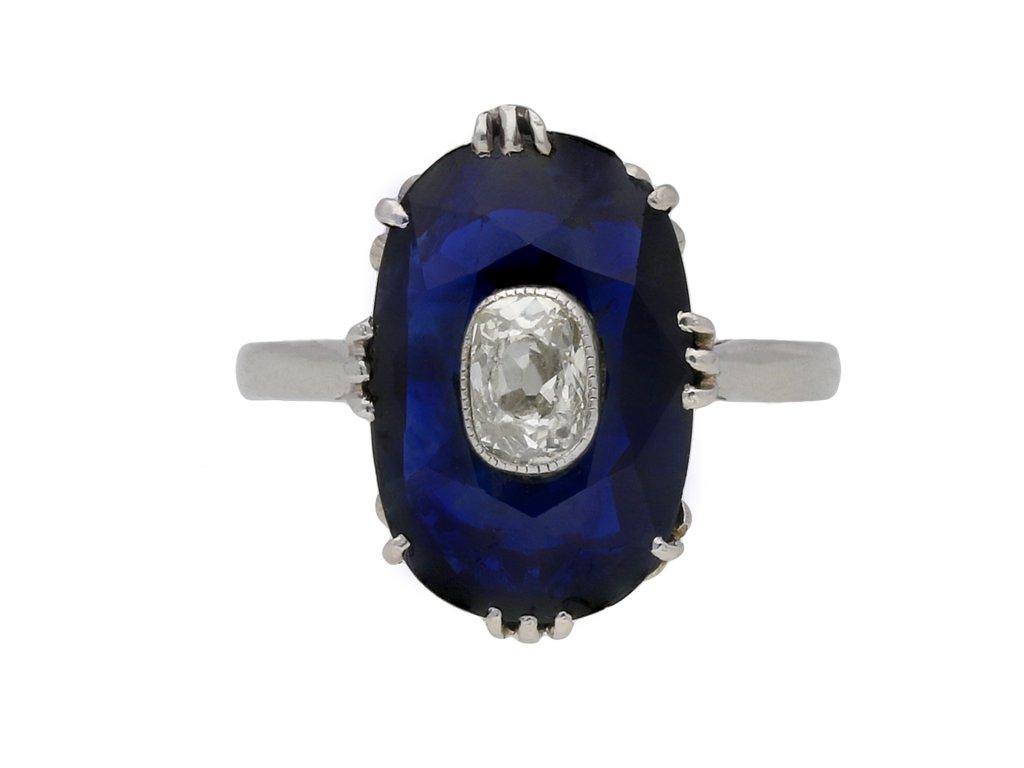 Art Deco sapphire ring diamond set centre hatton garden berganza