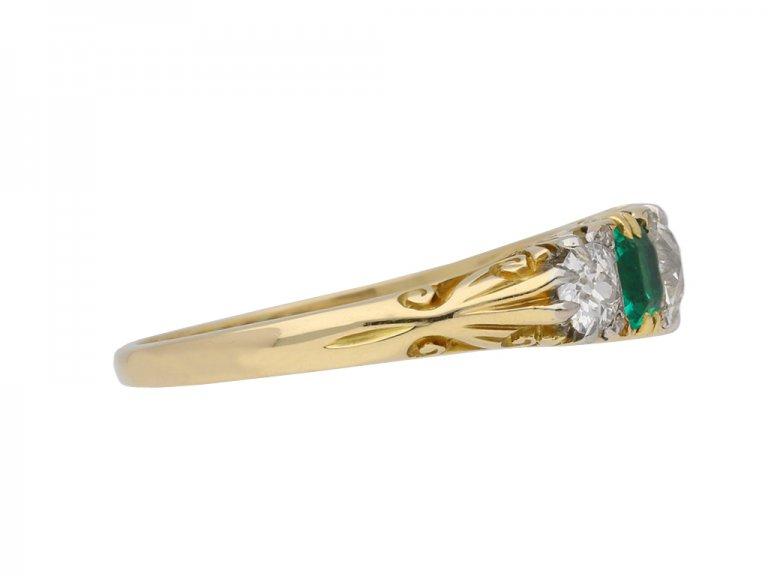Carved emerald and diamond five stone ring berganza hatton garden