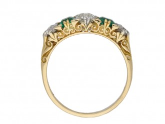Carved emerald and diamond five stone ring berganza hatton garden