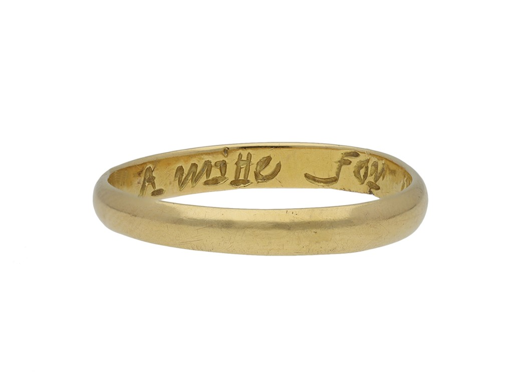 Gold posy ring, 'A mitte for a milleau' hatton garden