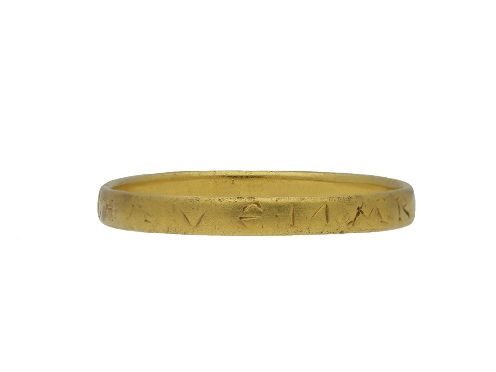 Gold ring, 'AVE MARIA'  hatton garden