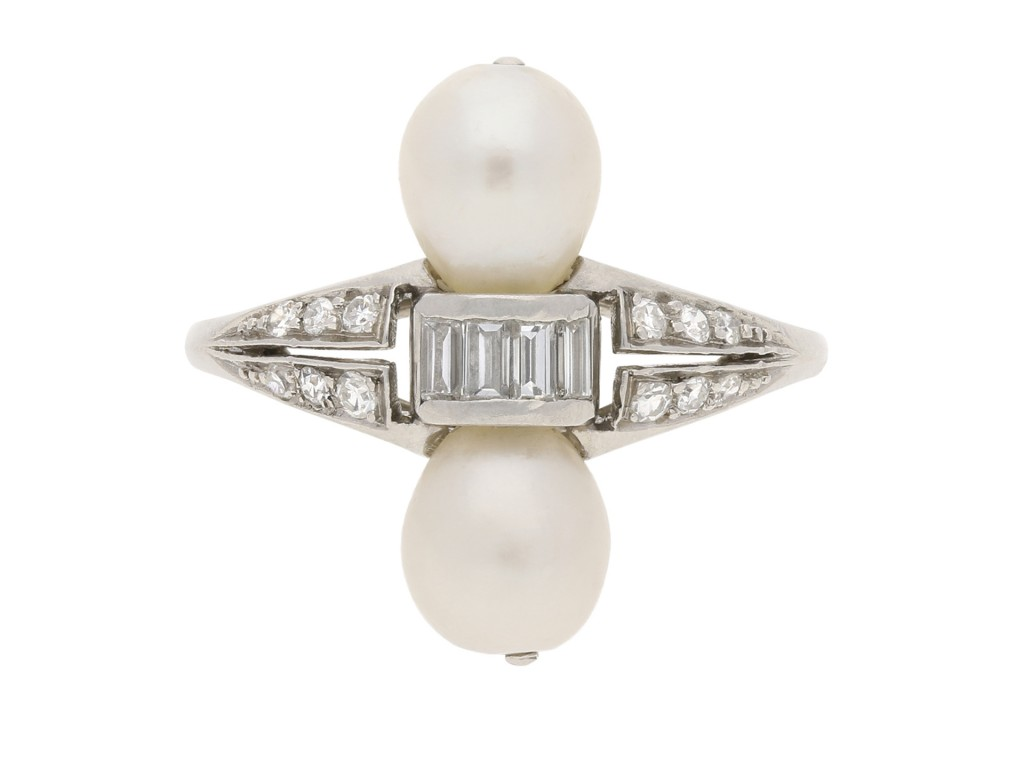 Two natural pearl and diamond ring 1920 Berganza Hatton Garden