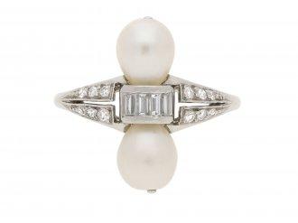 Two natural pearl and diamond ring 1920 Berganza Hatton Garden