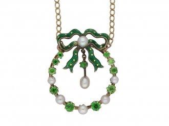 demantoid garnet pearl enamel pendant berganza hatton garden