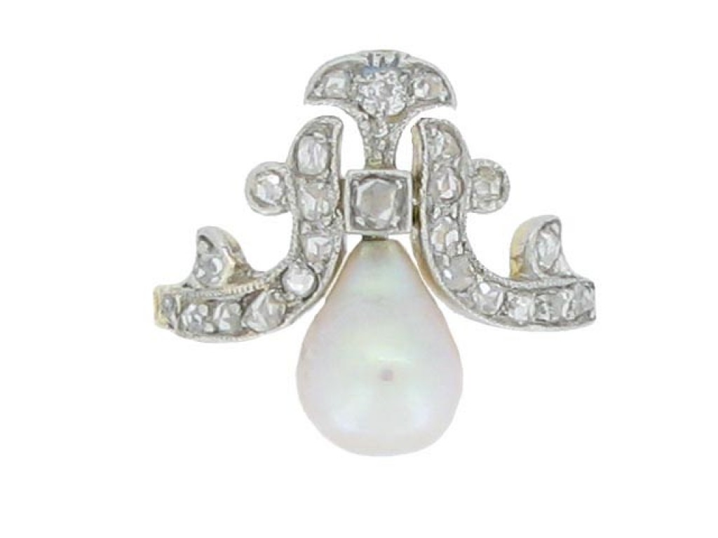front view Antique natural pearl and diamond ring, French, circa 1900.