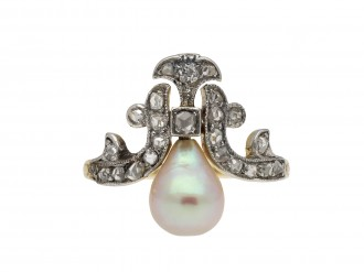 Antique natural pearl and diamond ring berganza hatton garden