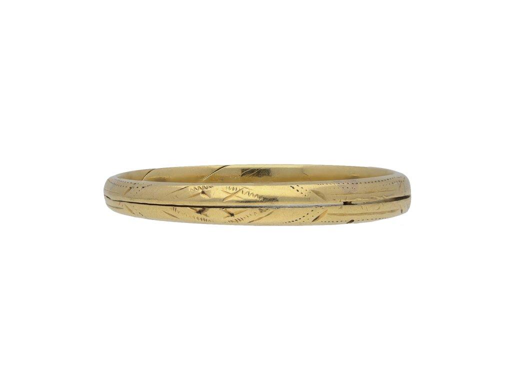 Antique engraved split wedding ring hatton garden