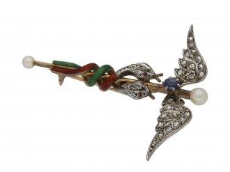 Sapphire, pearl, ruby, caduceus brooch berganza hatton garden