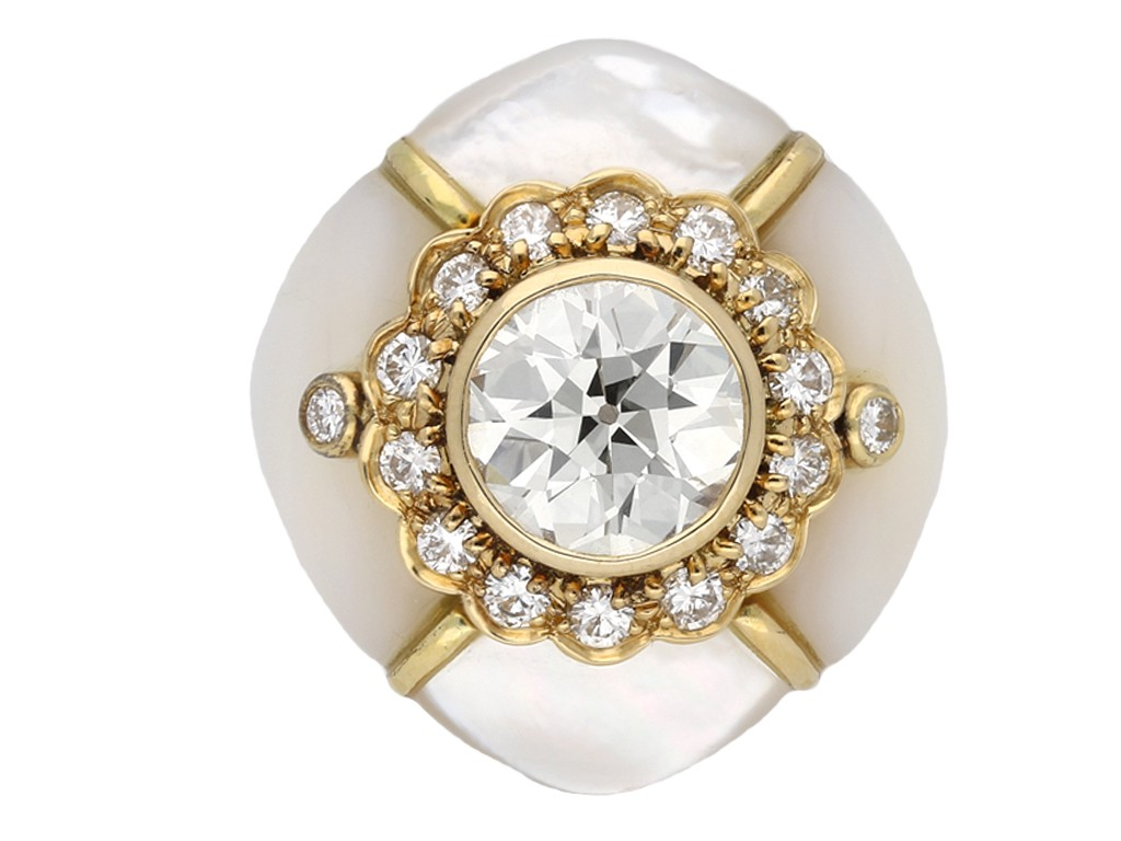 Fred diamond mother of pearl cluster ring berganza hatton garden