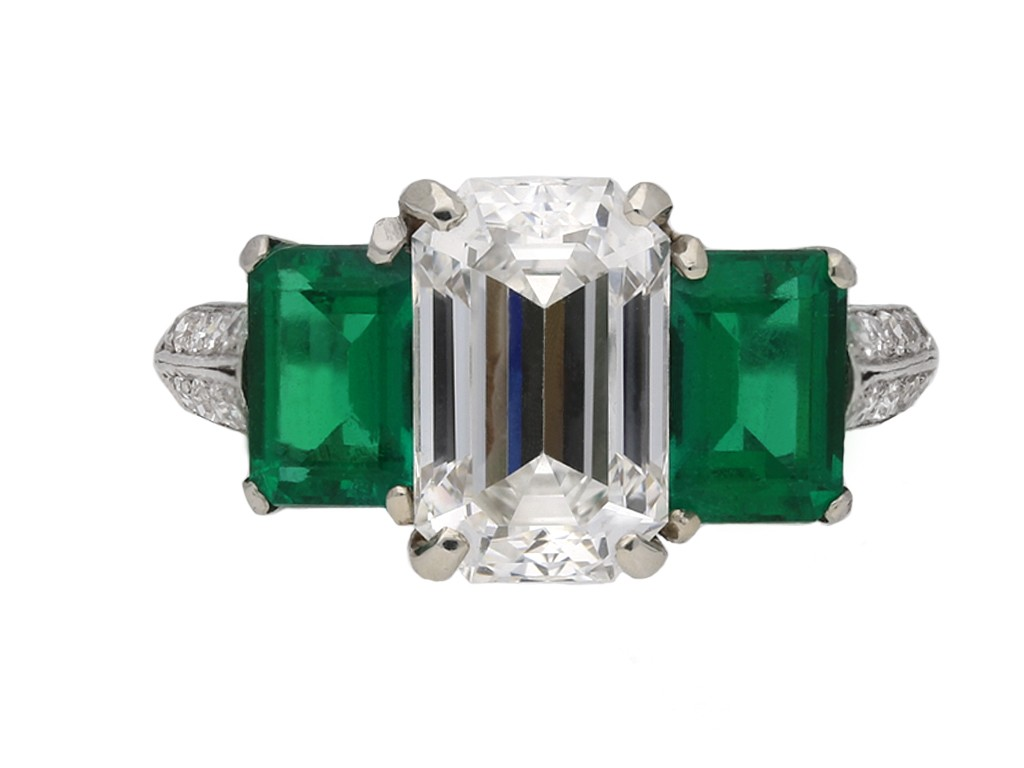 Vintage diamond emerald three stone ring berganza hatton garden