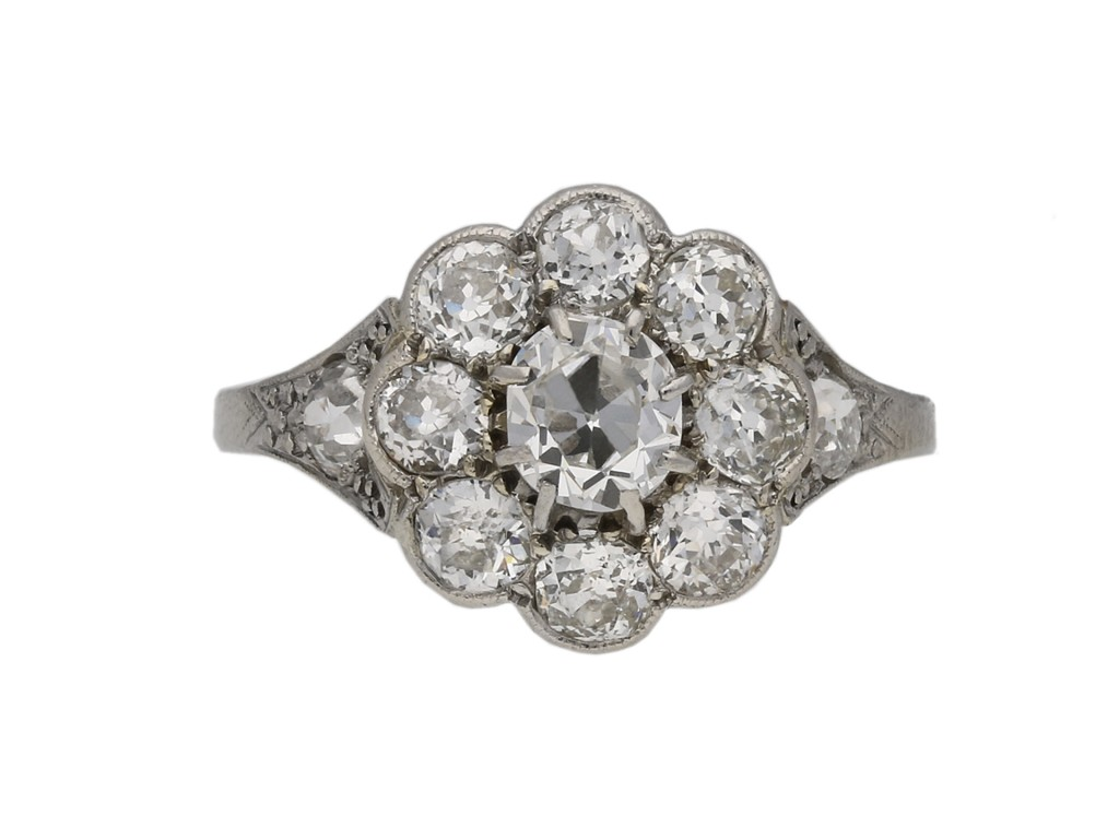 Antique diamond coronet cluster ring, berganza hatton garden