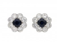Sapphire and diamond cluster earrings berganza hatton garden