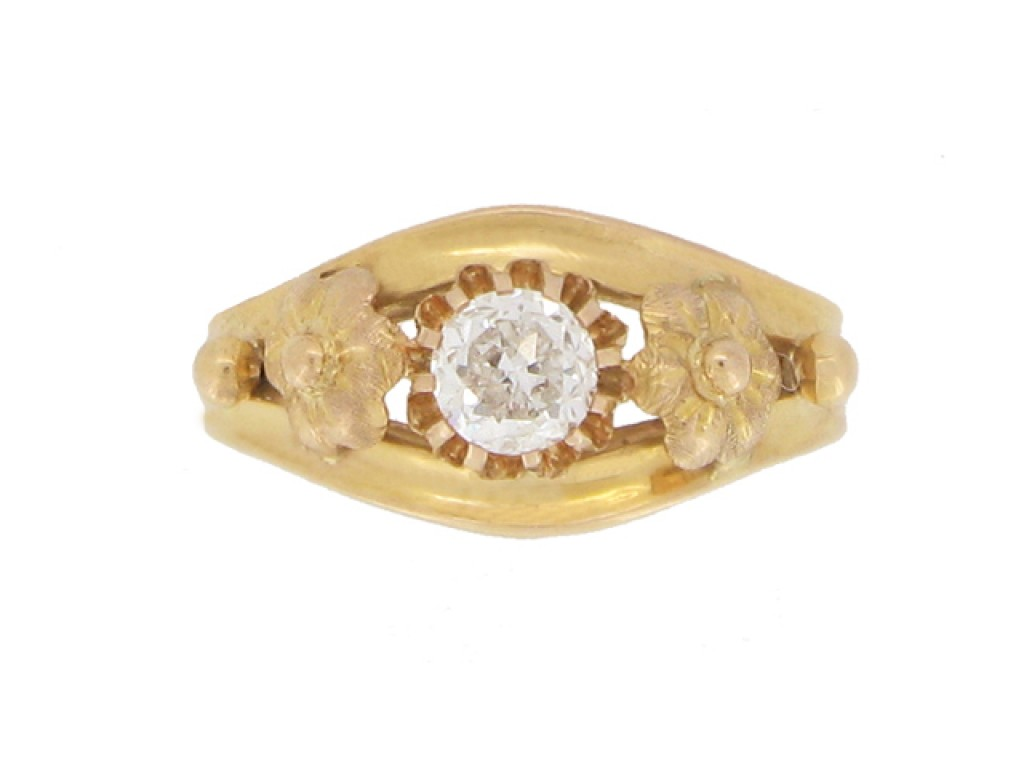 front view Antique solitaire diamond ring, French, circa 1900.
