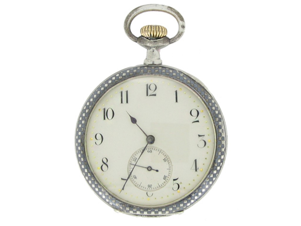 front view A silver pocket watch, circa 1909.