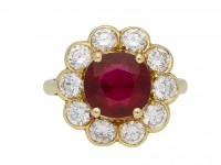 Ruby and diamond coronet cluster ring berganza hatton garden