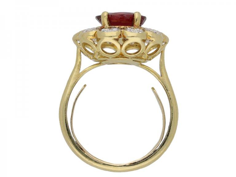 Ruby and diamond coronet cluster ring berganza hatton garden
