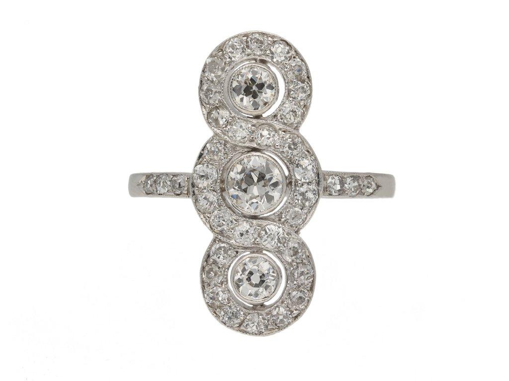 Antique diamond triple cluster ring berganza hatton garden