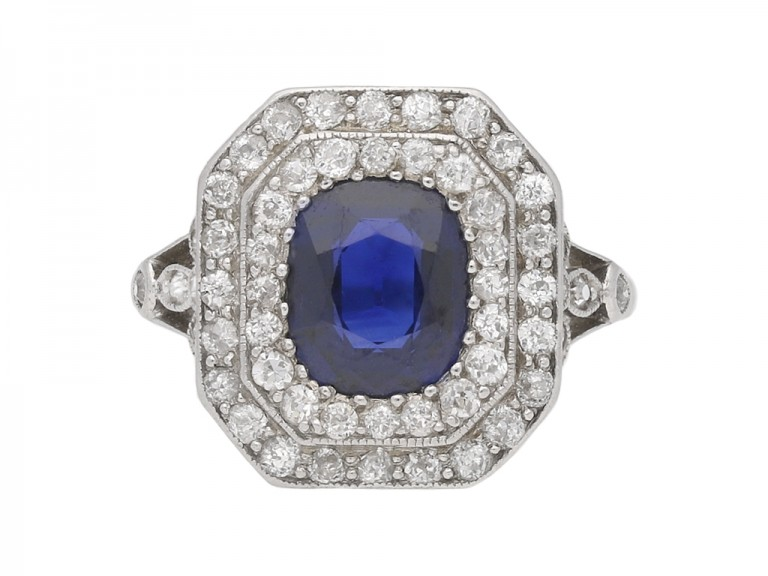 Sapphire and diamond cluster ring berganza hatton garden