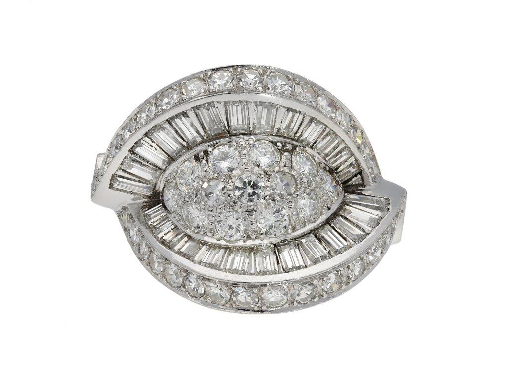 Diamond cocktail ring, circa 1950.