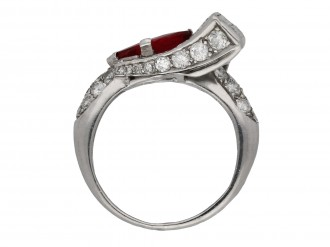 Art Deco ruby and diamond dress ring hatton garden berganza