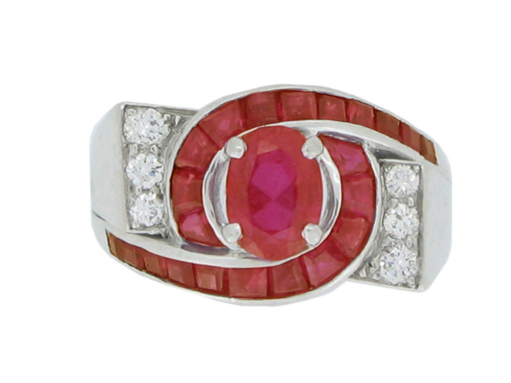 front view Oscar Heyman Brothers ruby and diamond ring, circa 1960.