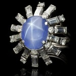 Vintage star sapphire and diamond cocktail ring, circa 1950.