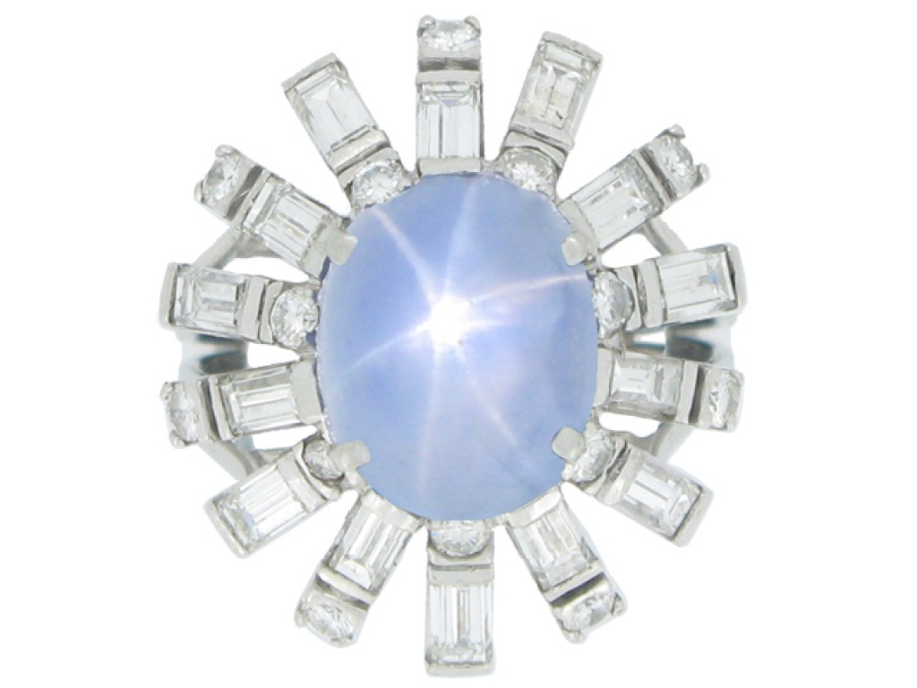 front view Star sapphire and diamond cocktail ring, circa 1950.